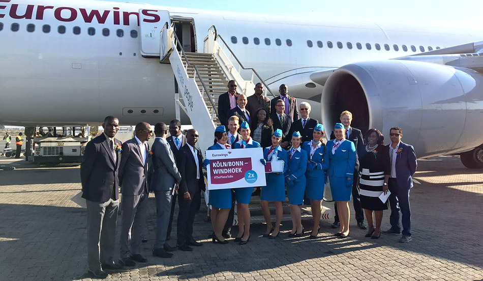 Ceremonial reception of the maiden flight of Eurowings at the International Hosea Kutako Airport near Windhoek